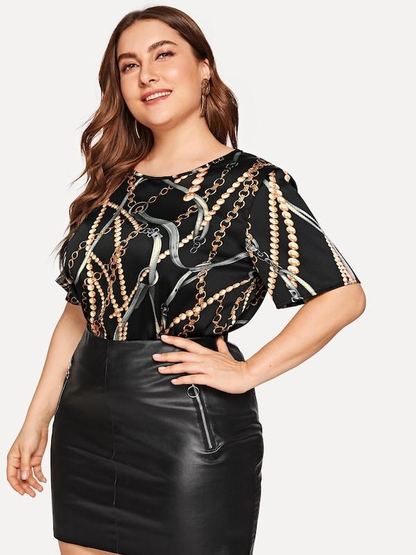 Plus Size Chain Print Blouse