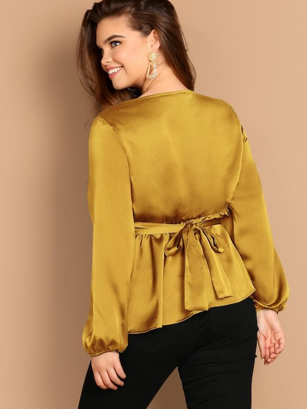 Plus Size Crisscross Knot Satin Blouse