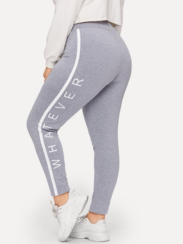 Plus Size Contrast Side Seam Letter Leggings