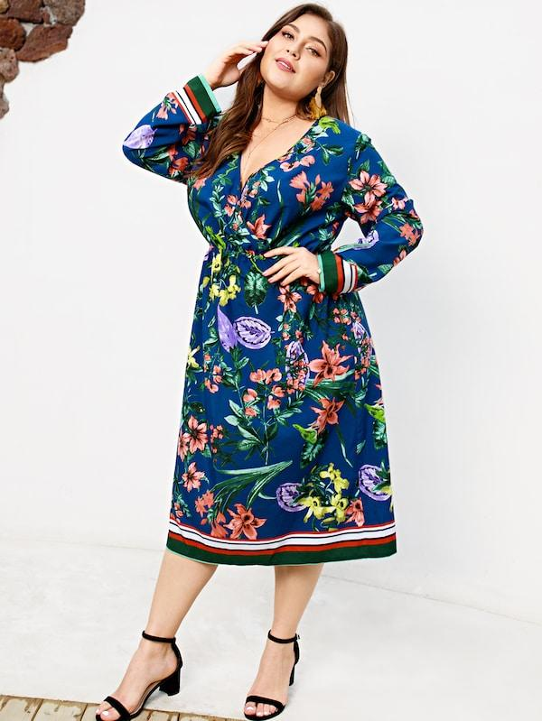 Plus Size Floral Print Striped Dress