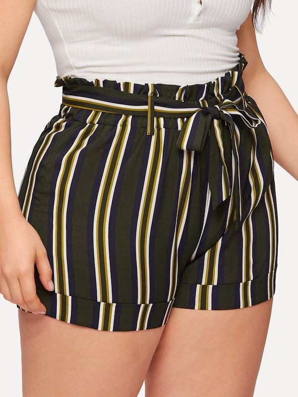 Plus Size Striped Self Tie Shorts