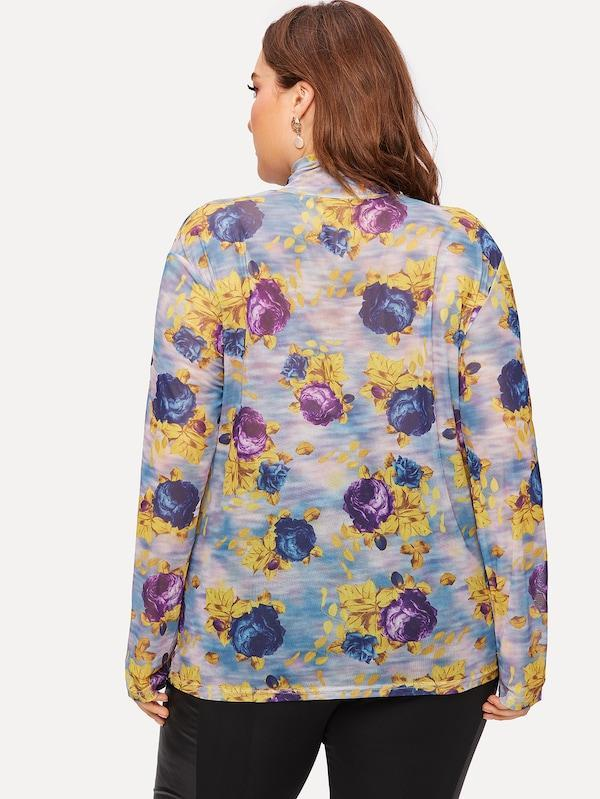 Plus Size Floral Print Tee