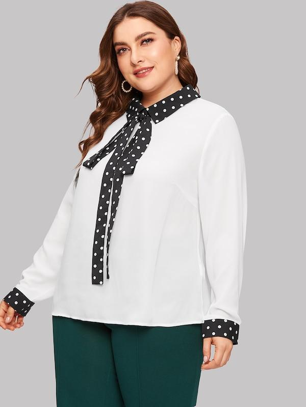 Plus Size Tie Neck Polka Dot Trim Blouse