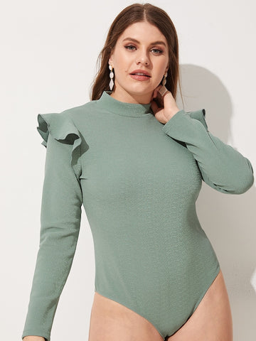 Plus Size Ruffle Detail Solid Bodysuit