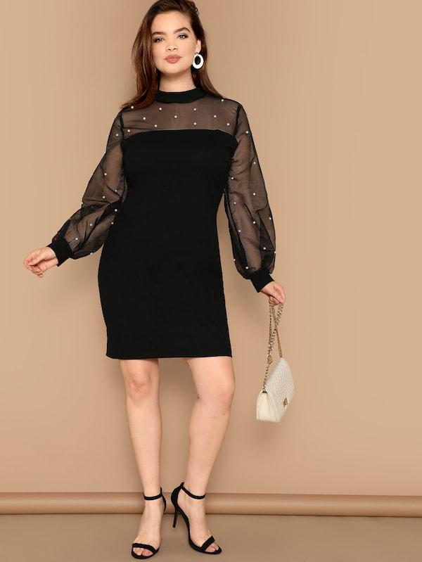 Plus Size Pearls Beaded Mesh Yoke Bishop Sleeve Dress
