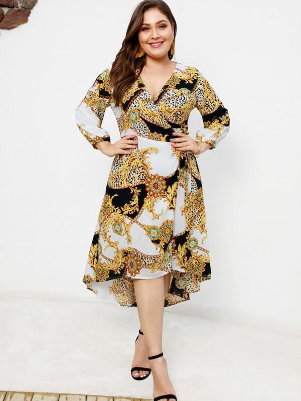Plus Size Asymmetrical Hem Scarf Print Dress