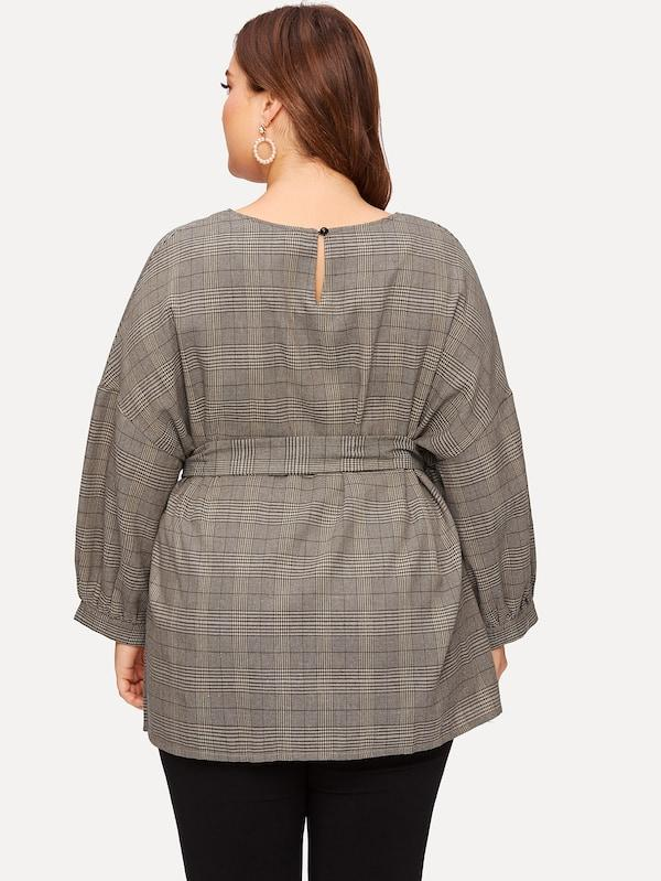 Plus Size Drop Shoulder Belted Plaid Top