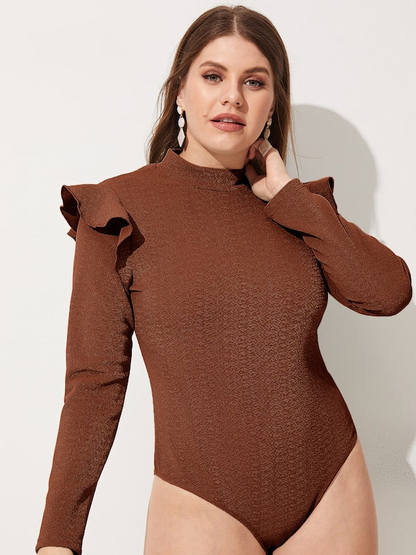 Plus Size Mock-Neck Ruffle Trim Bodysuit