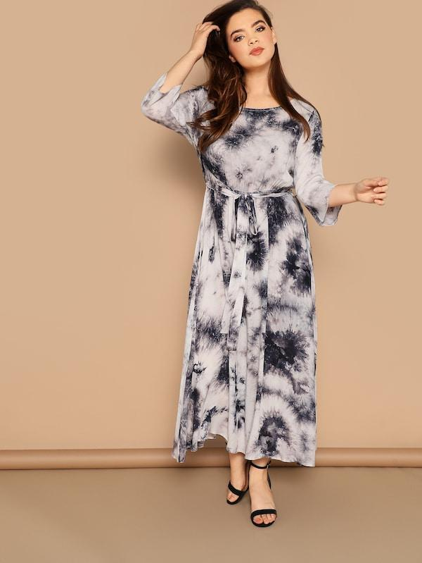 Plus Size Tie Dye Belted Dress