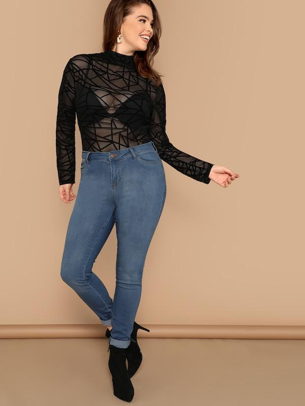 Plus Size Mock-Neck Geo Mesh Top Without Bra