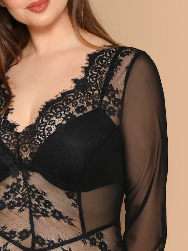 Plus Size Eyelash Lace Trim Mesh Bodysuit Without Bra