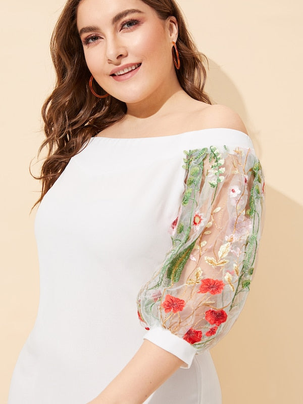 Plus Size Off Shoulder Mesh Embroidered Sleeve Pencil Dress