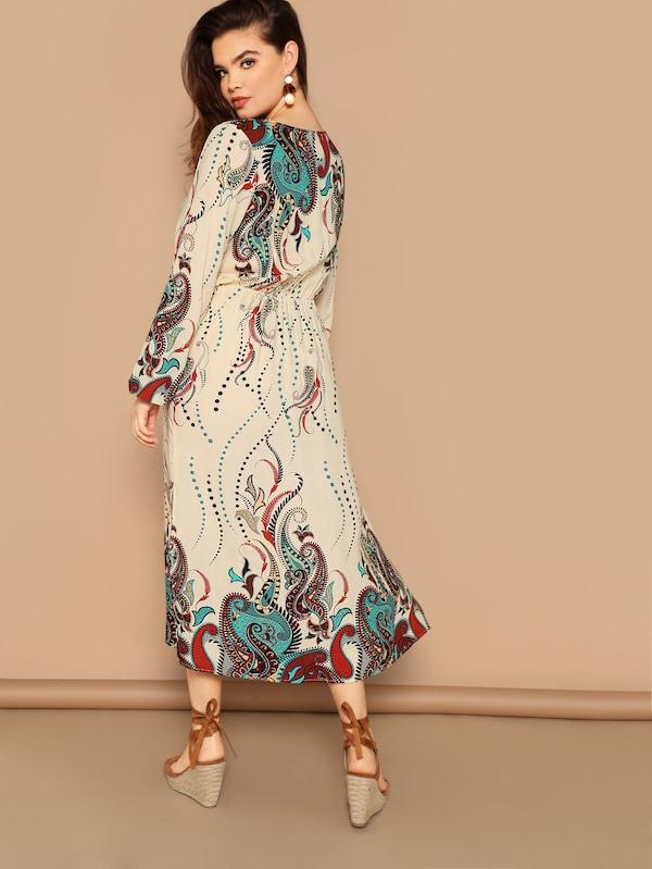 Plus Size Paisley Print Tassel Tie Neck Dress