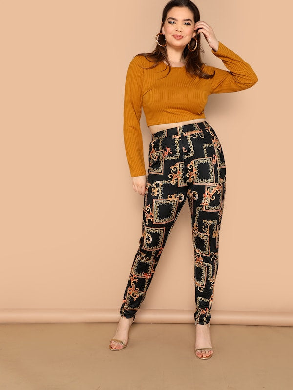 Plus Size High Waist Scarf Print Pants