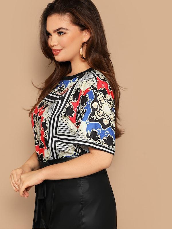 Plus Size Scarf Print Top