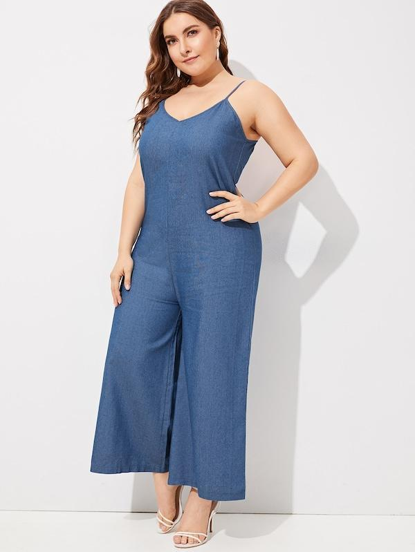 Plus Size Wide Leg Denim Cami Jumpsuit