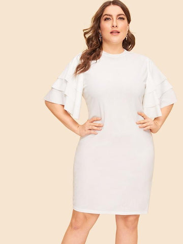 Plus Size Layered Sleeve Pencil Dress