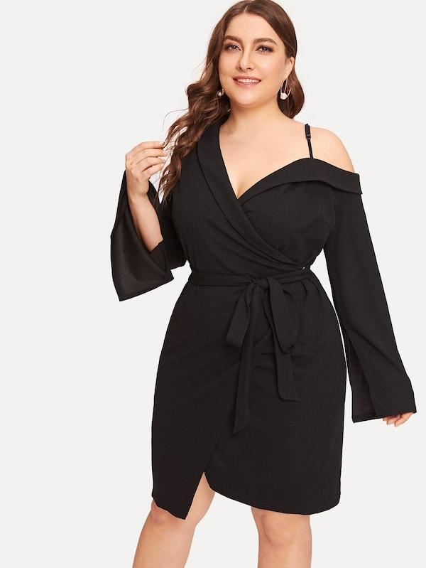 Plus Size Collared Asymmetrical Neck Wrap Dress With Belt