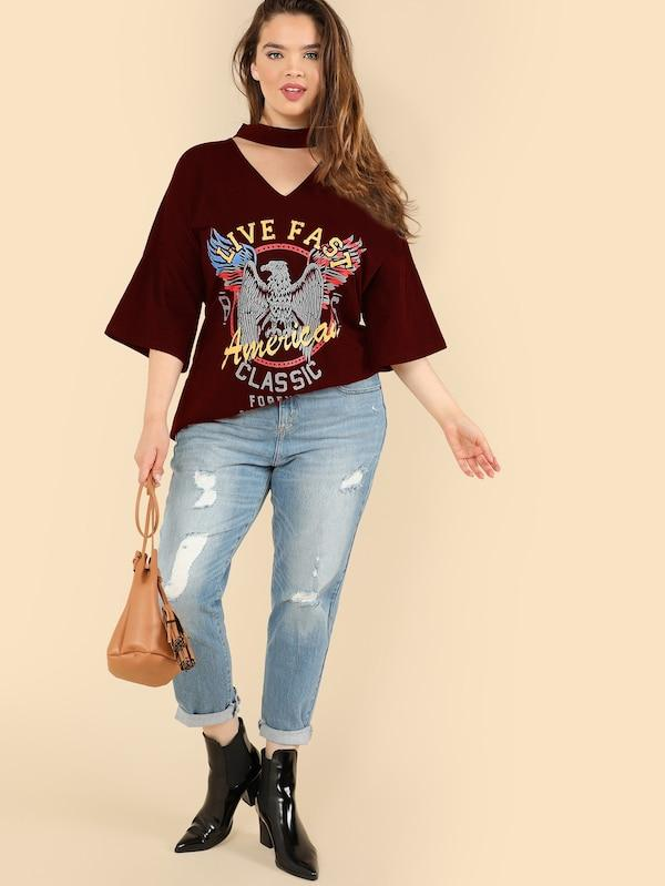 Plus Size Choker Neck Graphic Tee