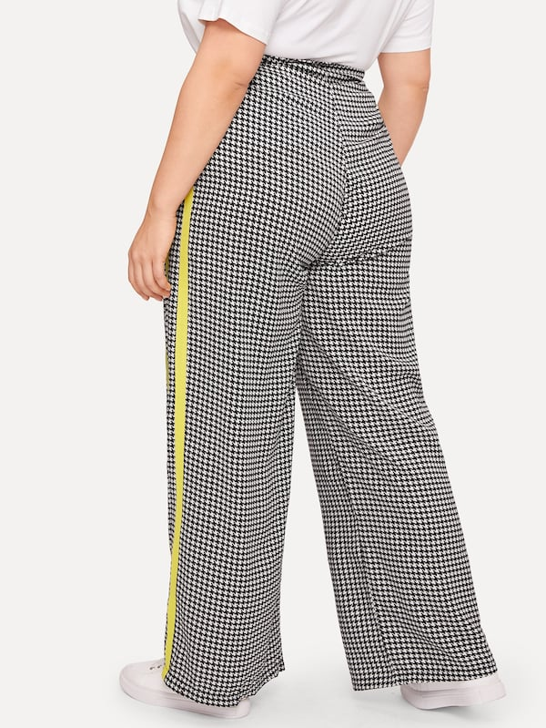 Plus Size Contrast Taped Houndstooth Wide Leg Pants