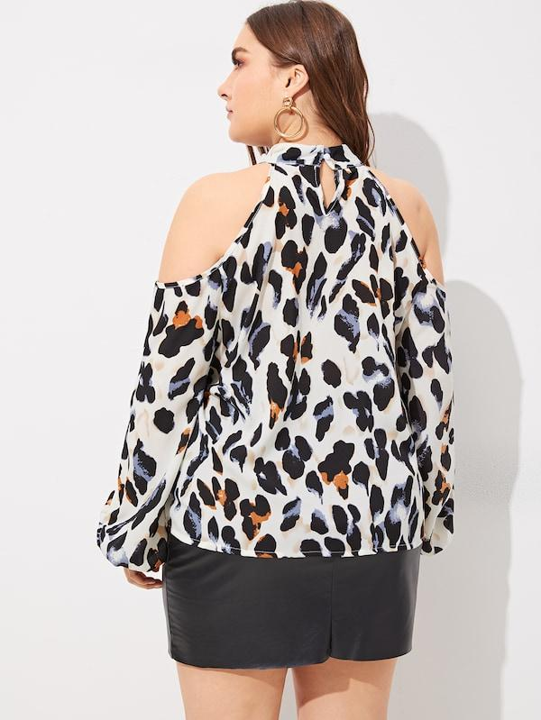 Plus Size Cold-Shoulder Leopard Print Blouse
