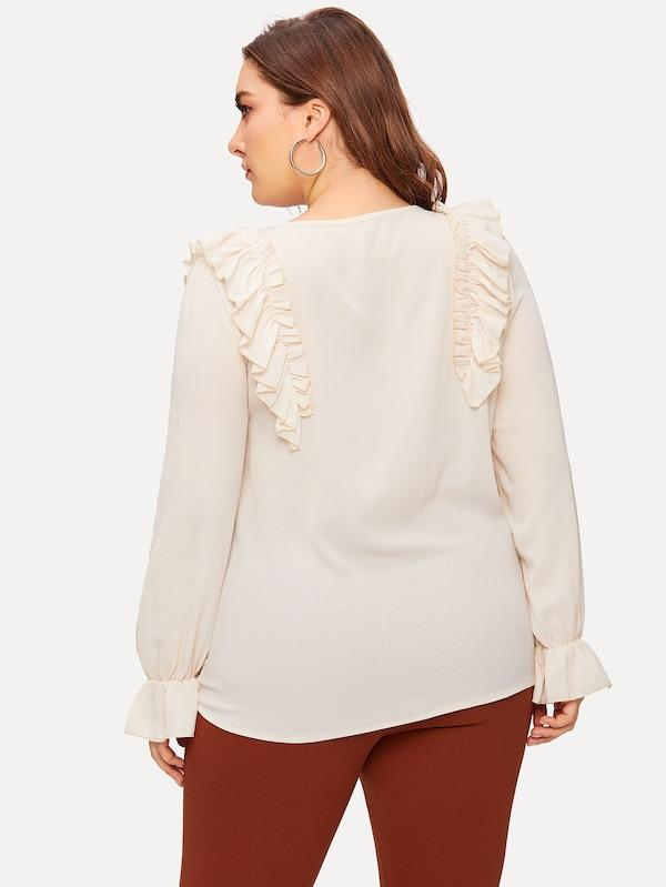 Plus Size Ruffle Button Decoration Blouse