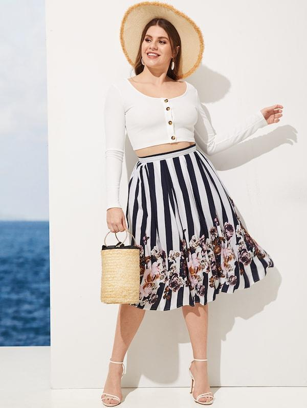 Plus Size Floral Print Striped Skirt