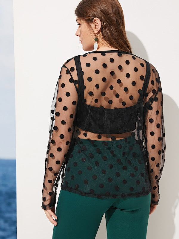Plus Size Polka Dot Mesh Sheer Blouse With Top