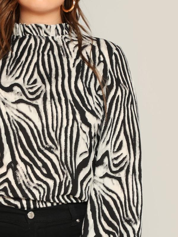 Plus Mock-Neck Zebra Print Top