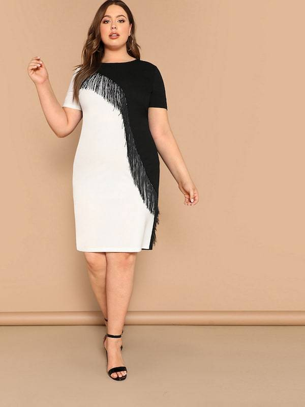 Plus Size Fringe Front Two Tone Pencil Dress