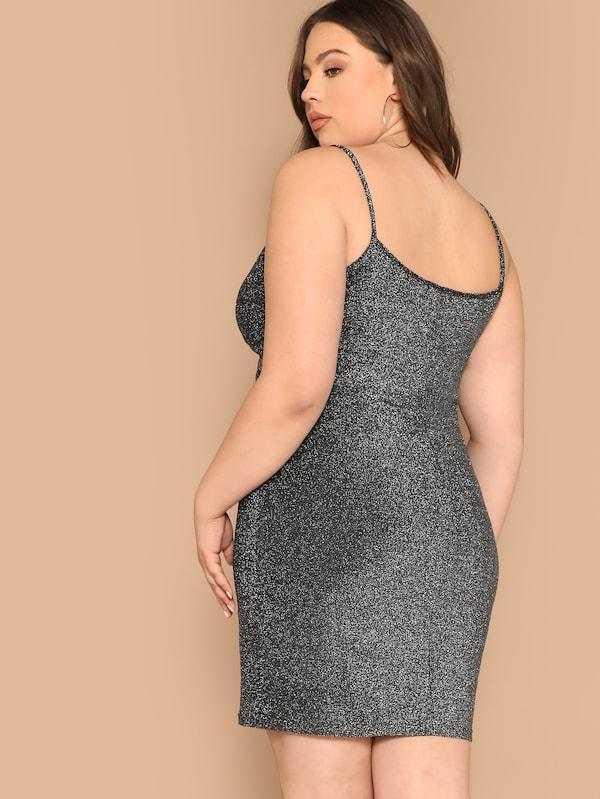 Plus Size Twist Front Glitter Cami Dress