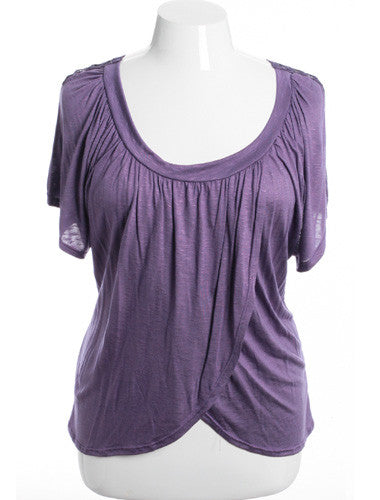 Plus Size See Through Knit Layered Purple Blouse