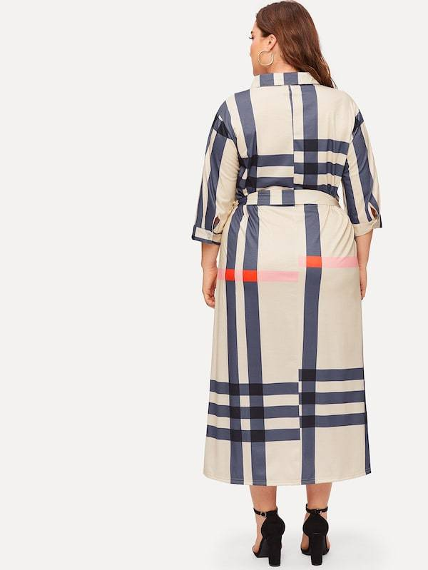 Plus Size Plaid Self Tie Waist Dress