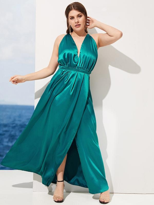 Plus Size Backless V-Neck Satin Dress