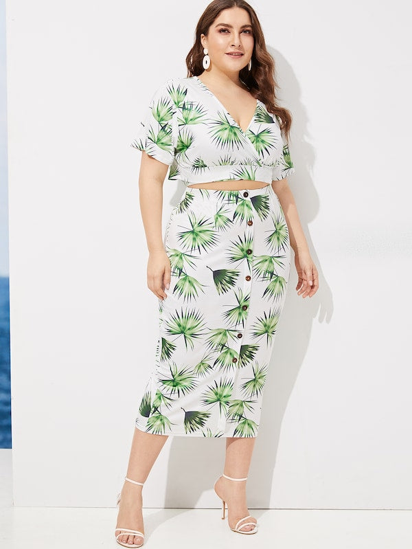 Plus Size Plant Print V-Neck Top With Skirt