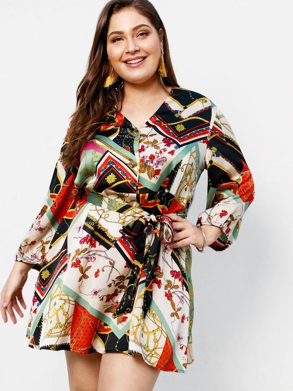 Plus Size Button Front Scarf Print Dress
