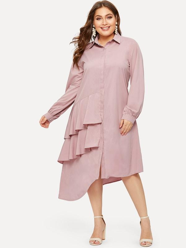 Plus Size Ruffle Asymmetrical Hem Shirt Dress