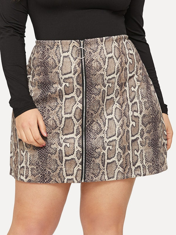 Plus Size Snake Print Zip Up Skirt