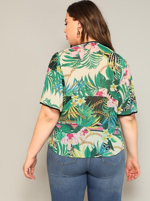 Plus Size Tie Neck Contrast Trim Tropical Top