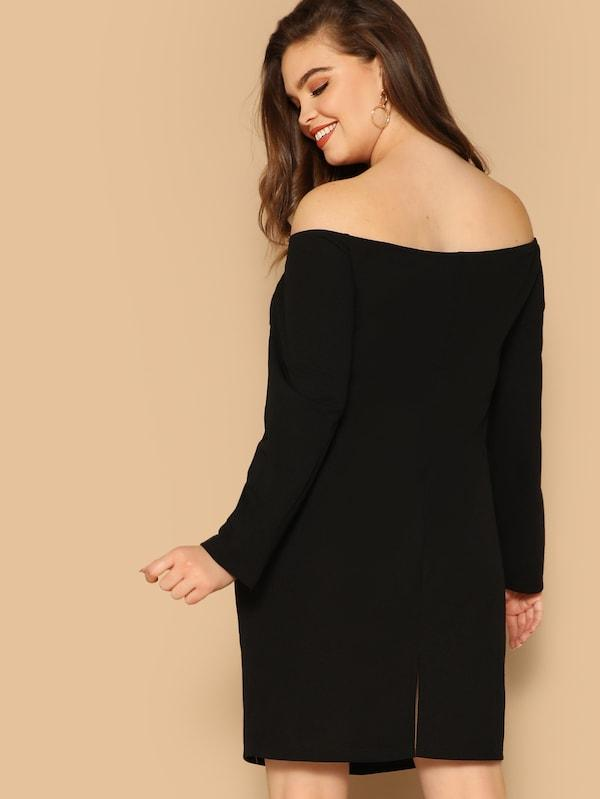 Plus Size Double Breasted Off Shoulder Dress