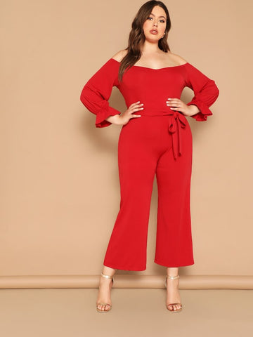 73f1525b925 Plus Size Off Shoulder Flounce Sleeve Belted Jumpsuit ...