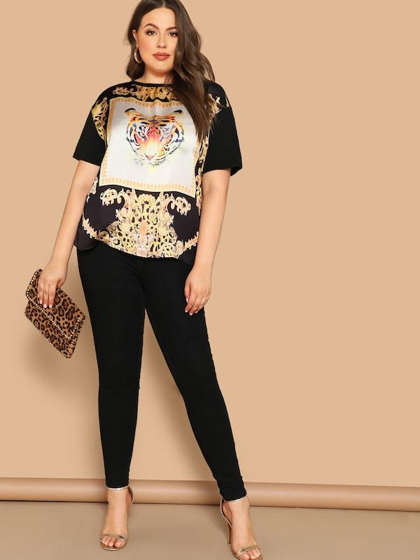 Plus Size Tiger Scarf Print Top
