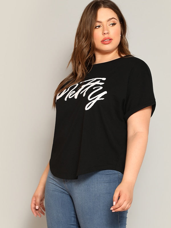 Plus Size Letter Print Tee