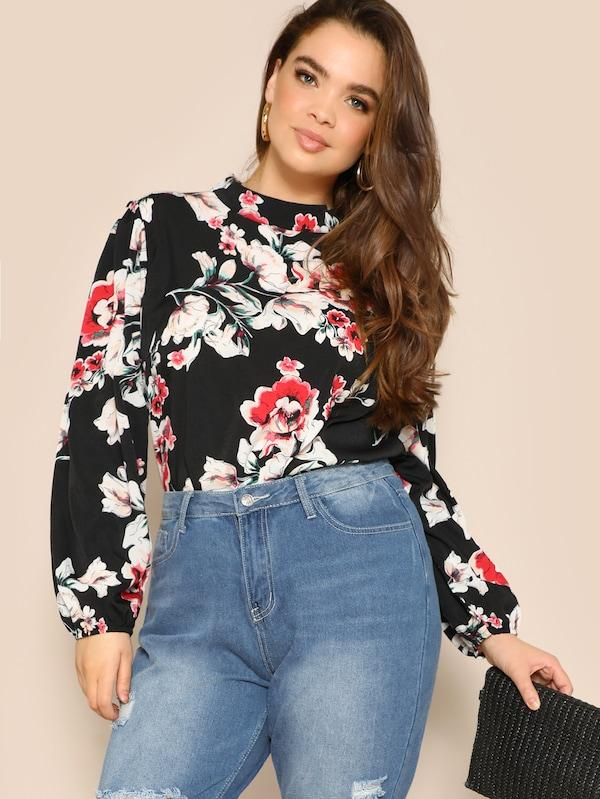 Plus Size Mock-Neck Lantern Sleeve Floral Print Blouse