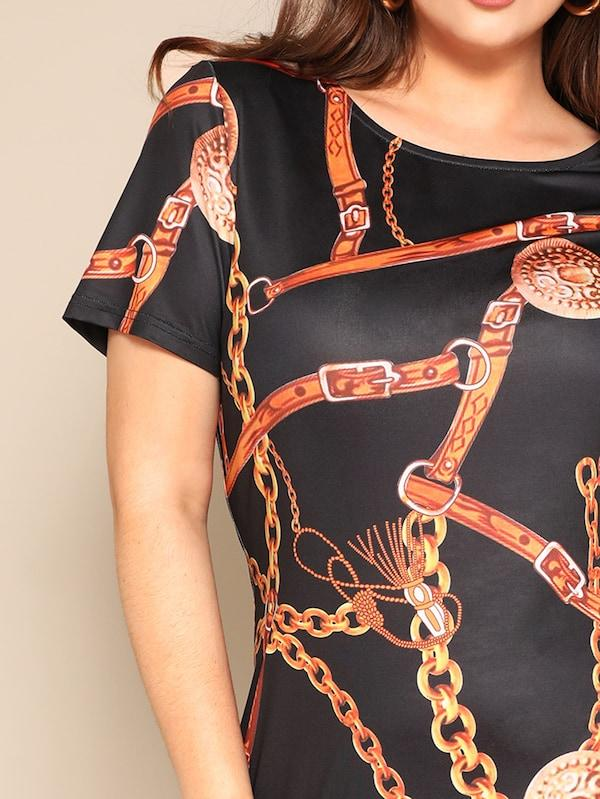Plus Size Chain Print Fitted Dress