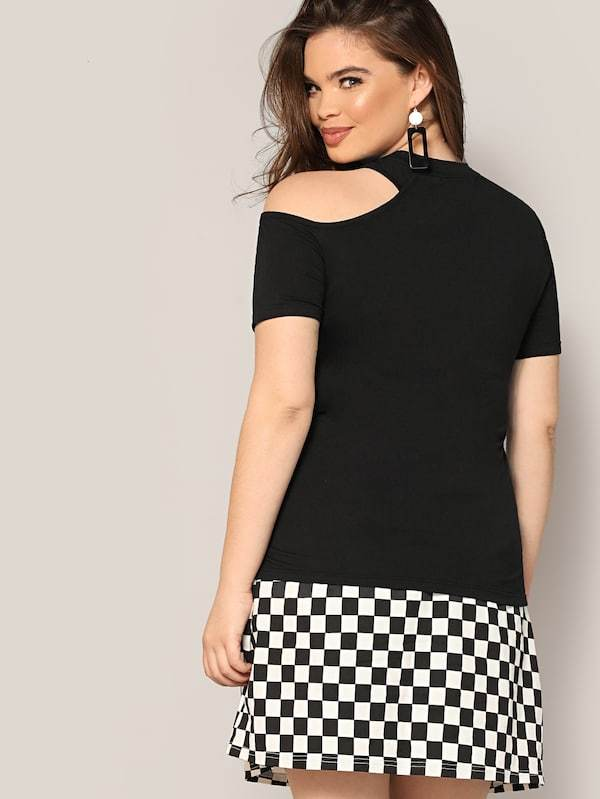 Plus Size Asymmetrical Cut Out Fitted Tee