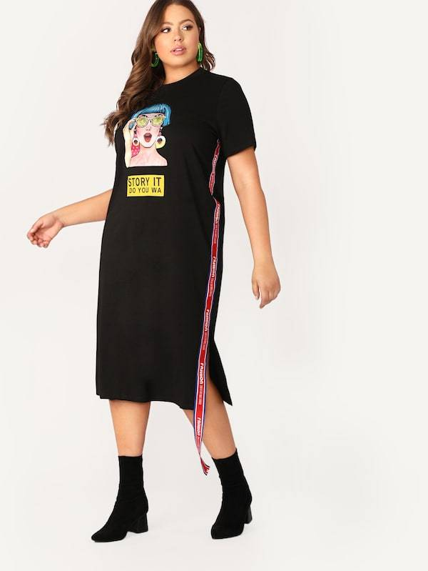 Plus Size Figure Print Lettering Tape Side Slit Tee Dress