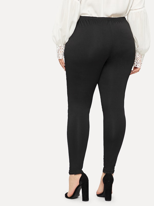 Plus Size Contrast Lace Ring Decoration Pants