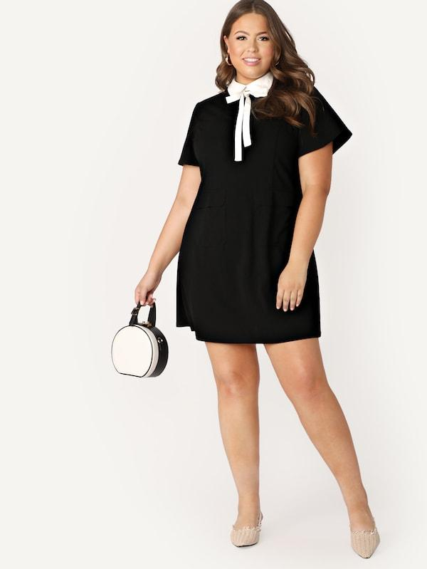 Plus Size Contrast Tie Neck Tunic Dress