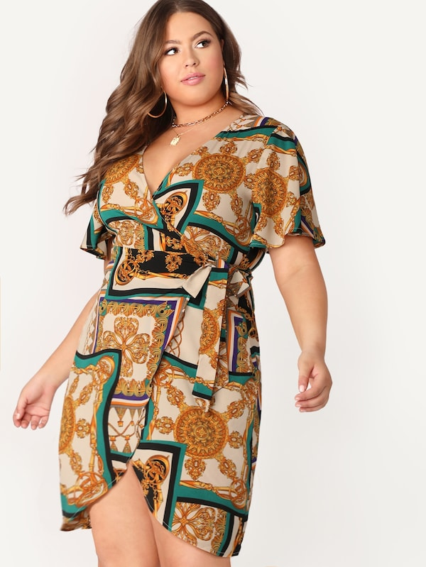 Plus Size Scarf Print Surplice Wrap Dress